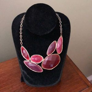 Deep Purple, Maroon and Gold Statement Necklace